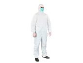 Средства ГО Комбинезон защитный с капюшоном из 100% Хлопка(Белый, 140 г/м²), размер L