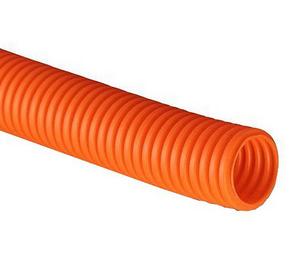 ДКС Труба ПНД гибкая гофр. д.50мм, тяжёлая с протяжкой, 15м, цвет оранжевый