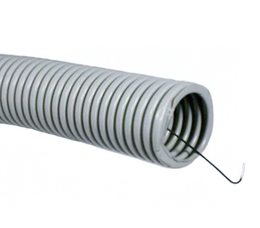 ДКС Труба ПВХ гибкая гофр. д.50мм, лёгкая с протяжкой, 15м, цвет серый